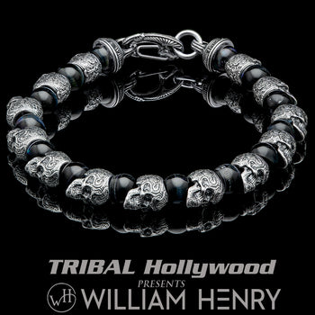 William Henry HAWKEYE Silver Skull and Blue Hawks Eye Bead Bracelet