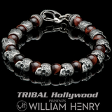 William Henry MOTIVATION Silver Skull and Red Tigers Eye Bead Bracelet