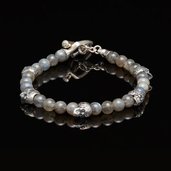 William Henry CRESCENT Silver Skull and Labradorite Bead Mens Bracelet