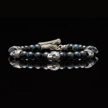 William Henry PATROL Silver Skull and Blue Hawk Eye Bead Bracelet
