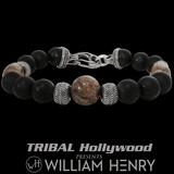 William Henry Red Brown TRIPLE DINOSAUR BONE Fossil Mens Bead Bracelet