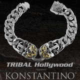 Konstantino GOLD POSEIDON ANCHOR Mens Bracelet in Sterling Silver