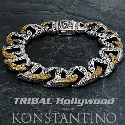 Konstantino SILVER AND BRONZE GREEK Scrollwork Mens Link Bracelet