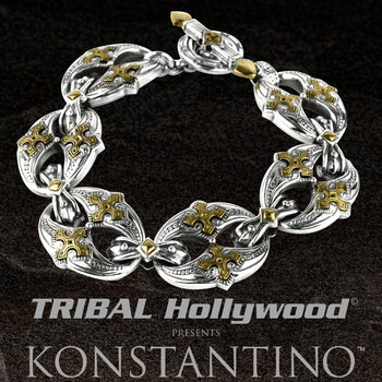Konstantino MALTESE CROSS LINK Bronze and Silver Link Bracelet for Men