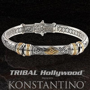 Konstantino PHIDIAS CUFF Silver and Bronze Hinged Bracelet for Men