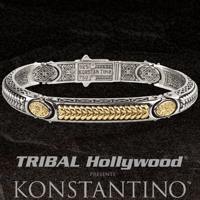Konstantino ORPHEUS WHEAT CUFF Silver and 18k Gold Thin Mens Bracelet
