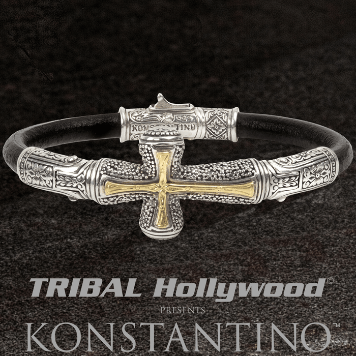 Konstantino GOLD STAVROS CROSS Leather Bracelet in Silver & 18k Gold