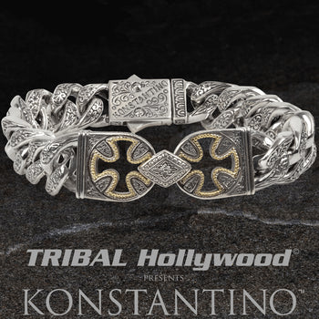 Konstantino CROSS VOID 18k Gold and Silver Link Bracelet for Men