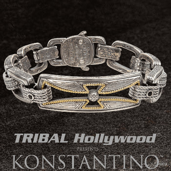 Konstantino GOLD ROPE CROSS BRACELET for Men in Silver and 18k Gold