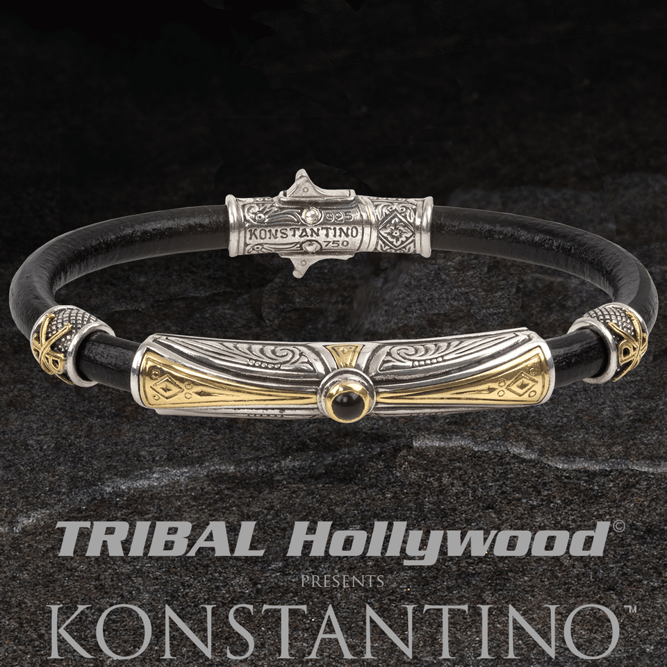 Konstantino ONYX GOLD CROSS Black Leather and Silver Bracelet for Men