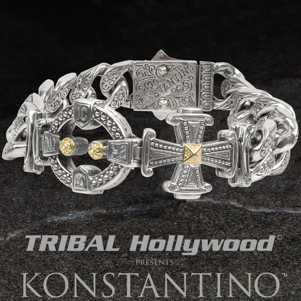 Konstantino CHRIST CONQUERS BRACELET for Men in Silver and 18k Gold