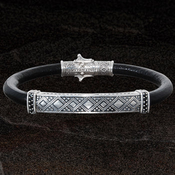 Konstantino SILVER GEOMETRIC ID BRACELET for Men in Black Leather