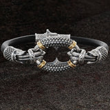 Konstantino SILVER AND GOLD RINGLET Bracelet for Men in Black Leather