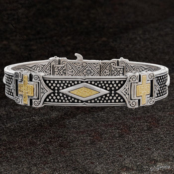 Konstantino GOLD CROSS BRACELET for Men in Sterling Silver
