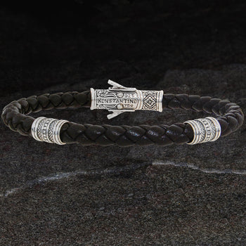Konstantino Sterling Silver BARREL BEAD BROWN Leather Bracelet for Men