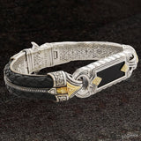 Konstantino PERSEUS ONYX ID Bracelet for Men in Silver 18k Gold and Leather