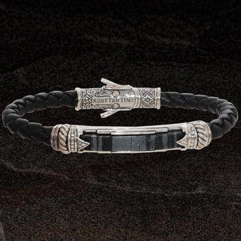 Konstantino FERRITE ID TAG Silver and Braided Leather Mens Bracelet