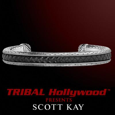 LEATHER INLAY SILVER CUFF Thin Sterling Bracelet by Scott Kay