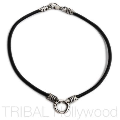 BLACK LEATHER NECKLACE with Silver Warrior Metalwork