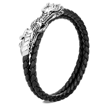 John Hardy Mens Legends Twin Naga Dragons Leather and Silver Doublewrap Bracelet