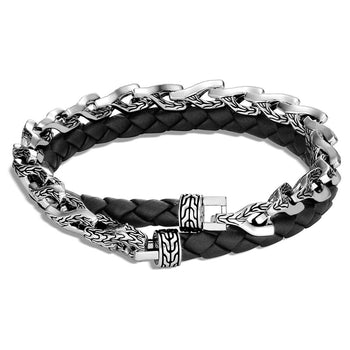 John Hardy Mens Black Leather and Silver Asli Link Double Wrap Bracelet