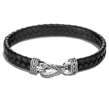 John Hardy Mens Flat Woven Black Leather Bracelet with Silver Asli Link Clasp
