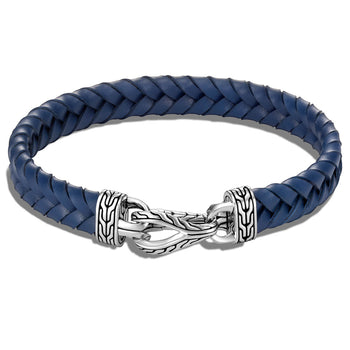 John Hardy Mens Flat Woven Blue Leather Bracelet with Silver Asli Link Clasp