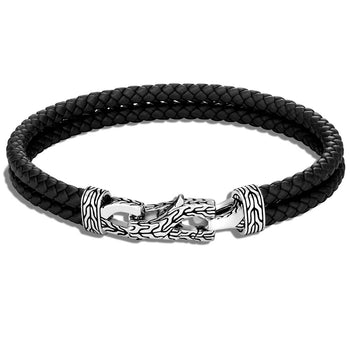 John Hardy Mens Double Strand Braided Black Leather Bracelet with Silver Asli Link