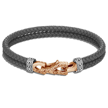John Hardy Mens Double Strand Braided Grey Leather Bracelet with Bronze Asli Link