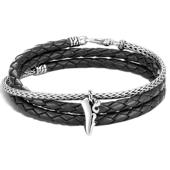 Leather and Silver Triple Wrap Bracelet with Kerris Dagger by John Hardy