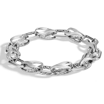 John Hardy Mens Asli Link 11mm Silver Bracelet - Classic Chain Collection