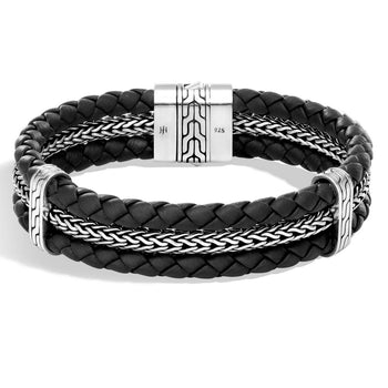 John Hardy Mens Black Leather and Silver Classic Chain Triple Row Bracelet