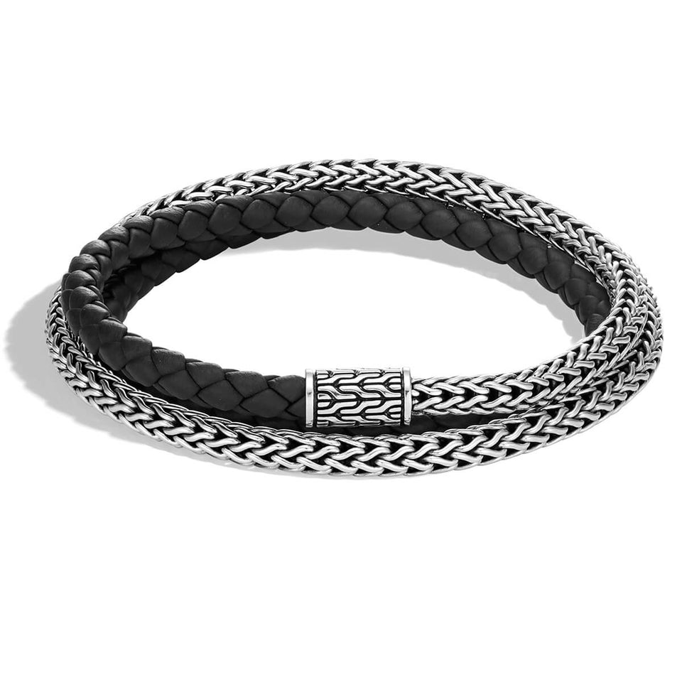 John Hardy Mens Triple Wrap Black Leather and Classic Chain Silver 5mm Bracelet