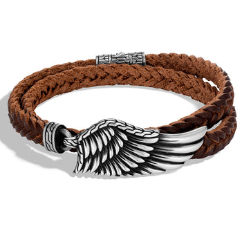 John Hardy Mens Legends Eagle Wing Double Wrap Brown Leather Bracelet