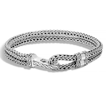 John Hardy Mens Double Strand Silver Hook Bracelet 9mm - Classic Chain Collection