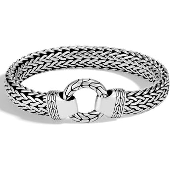 John Hardy Mens Ring Clasp Large Flat Silver Bracelet - Classic Chain Collection