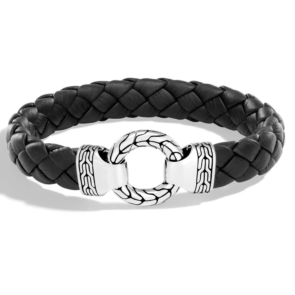 John Hardy Mens Silver Ring Clasp Black Leather Bracelet - Classic Chain Collection