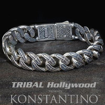 Konstantino INTERLOCKING SPARTAN SWORDS Sterling Silver Mens Bracelet