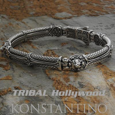 Konstantino LION HEAD CUFF Sterling Silver Hinged Bracelet for Men