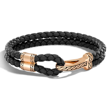 John Hardy Mens Bronze Hook Double Strand Black Leather Bracelet - Classic Chain Collection