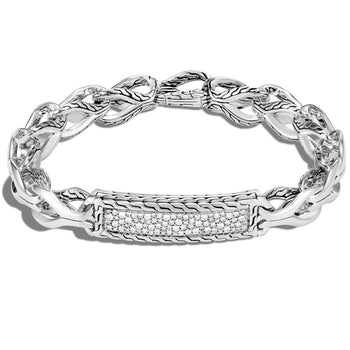 John Hardy Mens Diamond Asli Link ID Bracelet - Classic Chain Collection