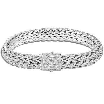 John Hardy Mens Flat Classic Chain Silver and Diamond Bracelet
