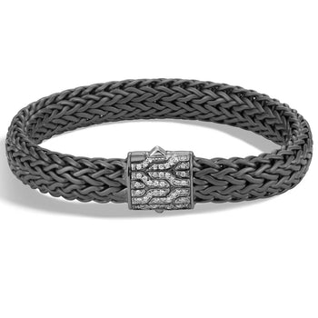 John Hardy Mens Black Rhodium Silver Bracelet with Pave Diamonds - Classic Chain Collection
