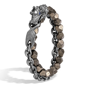 John Hardy Mens Legends Naga Dragon Double Wrap Rhodium and Pyrite Bead Bracelet