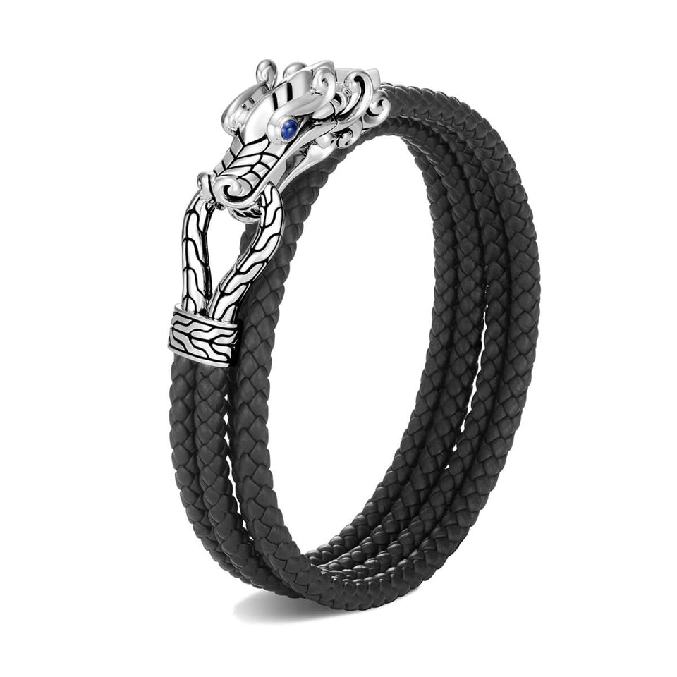 John Hardy Mens Legends Naga Dragon Leather and Silver Twin Strand Double Wrap Bracelet