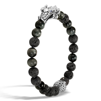 John Hardy Mens Legends Naga Dragon Lava and Eagle Eye Stone Bead Bracelet