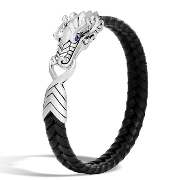 John Hardy Mens Legends Naga Dragon Black Leather and Silver 10mm Bracelet