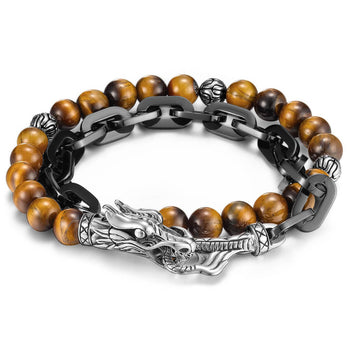 John Hardy Mens Legends Naga Dragon Double Wrap Tiger Eye and Black Steel Bracelet