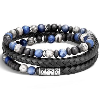 Triple Wrap Bead and Black Leather Bracelet by John Hardy - Backside