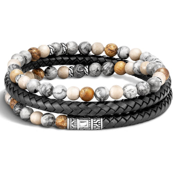 Triple Wrap Bead and Leather Bracelet by John Hardy - Backside
